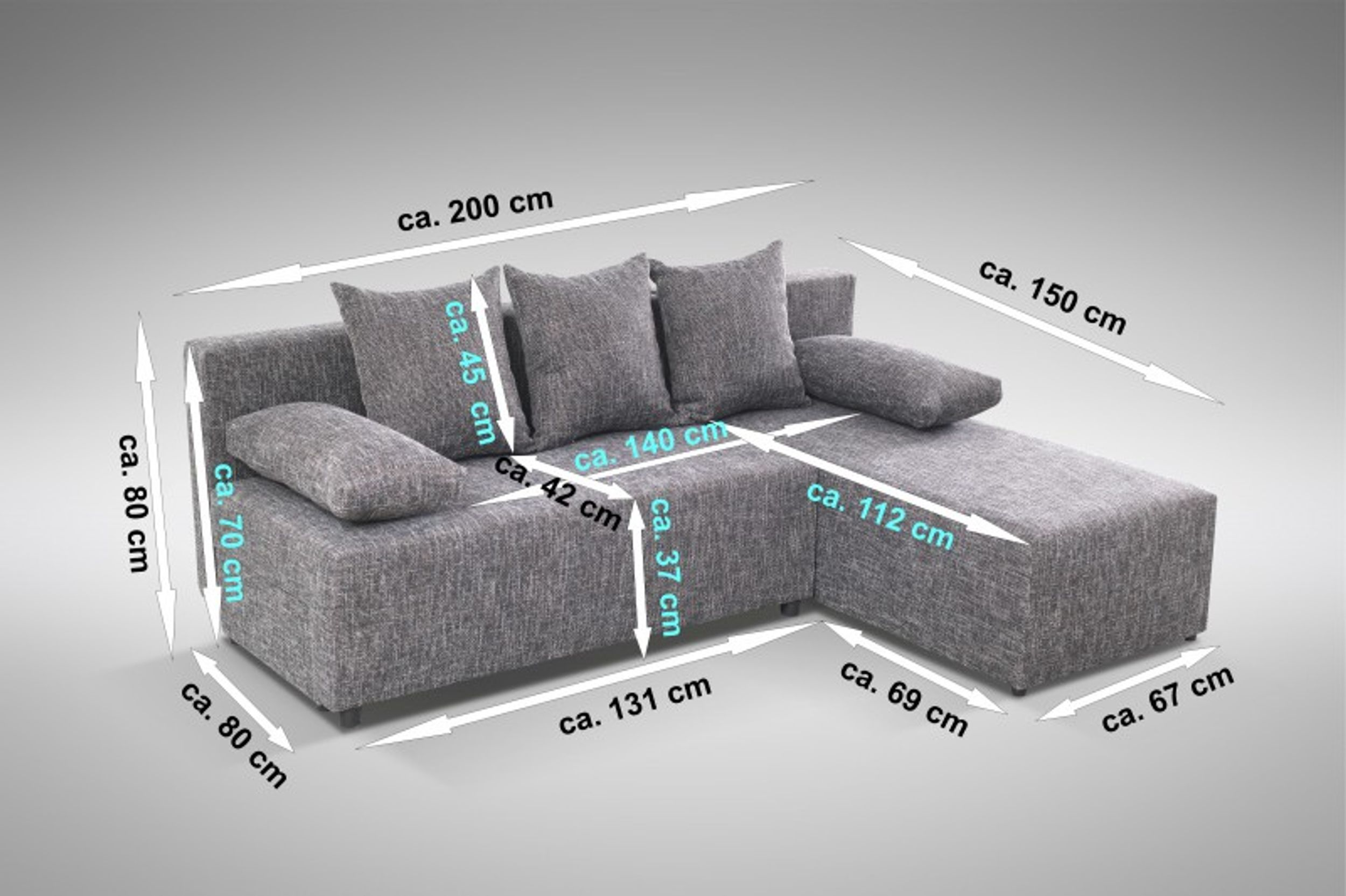 schlafsofa sofa couch ecksofa eckcouch grau schlaffunktion astana l r ebay. Black Bedroom Furniture Sets. Home Design Ideas