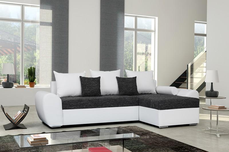 Schlafsofa ecksofa günstig  Schlafsofa Sofa Couch Ecksofa Eckcouch schwarz/weiss ...