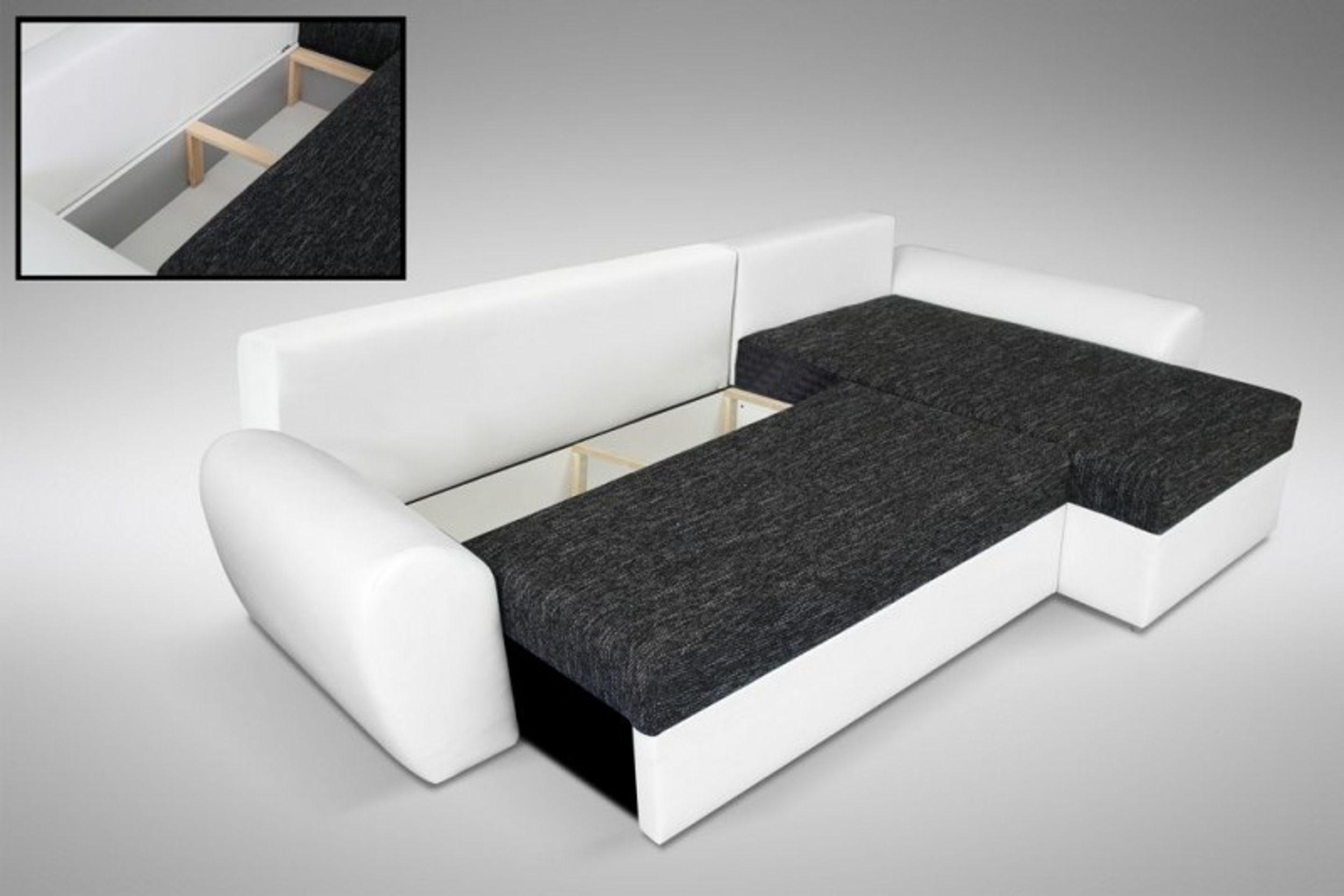 Schlafsofa Sofa Couch Ecksofa Eckcouch Schwarz/Weiss