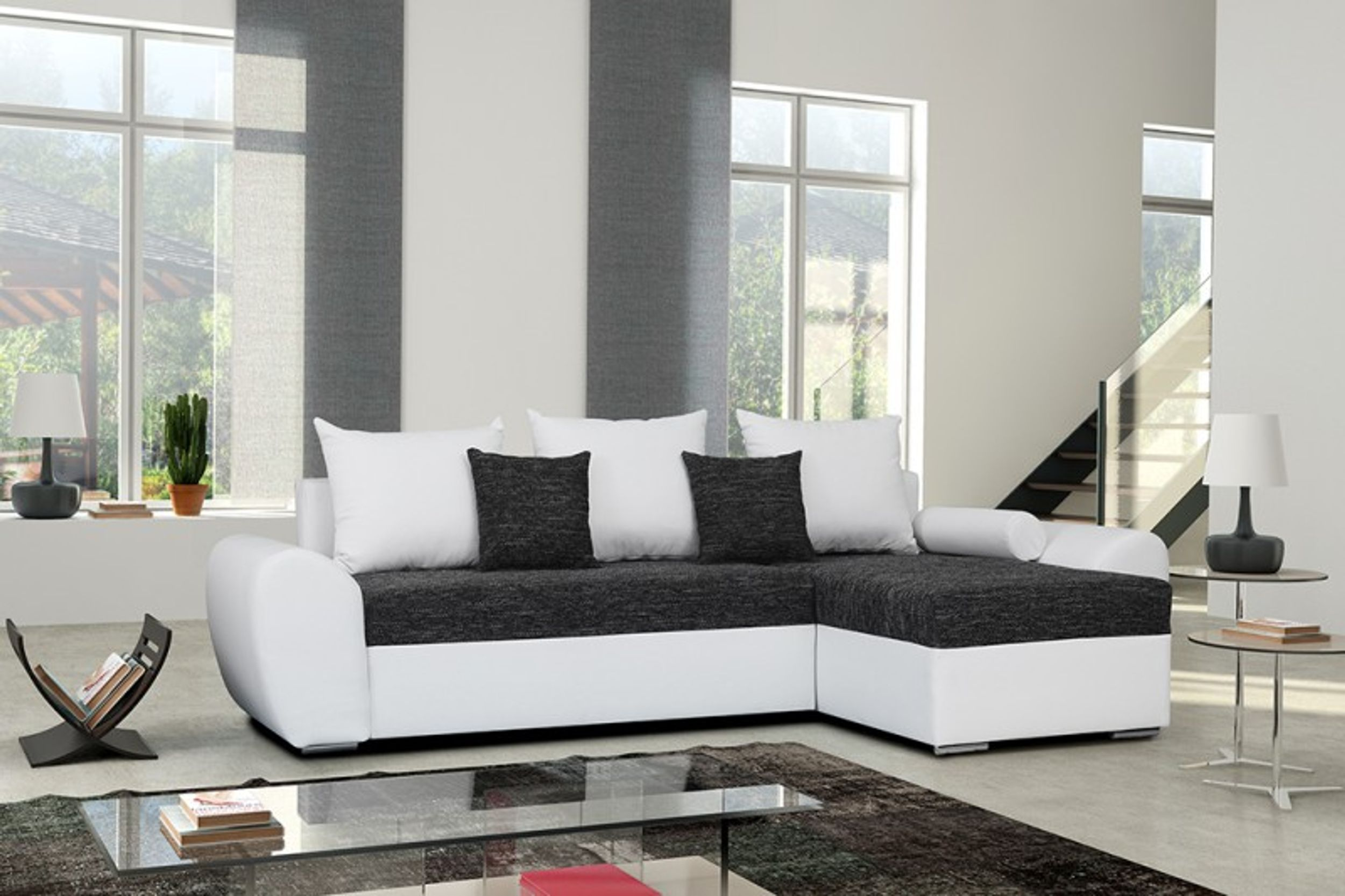 schlafsofa sofa couch ecksofa eckcouch schwarz weiss schlaffunktion ankara 1 l r polsterm bel sofa. Black Bedroom Furniture Sets. Home Design Ideas