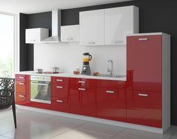 Küche Color 340 cm Küchenzeile Küchenblock Einbauküche in Hochglanz Rot / Weiss – Bild 1