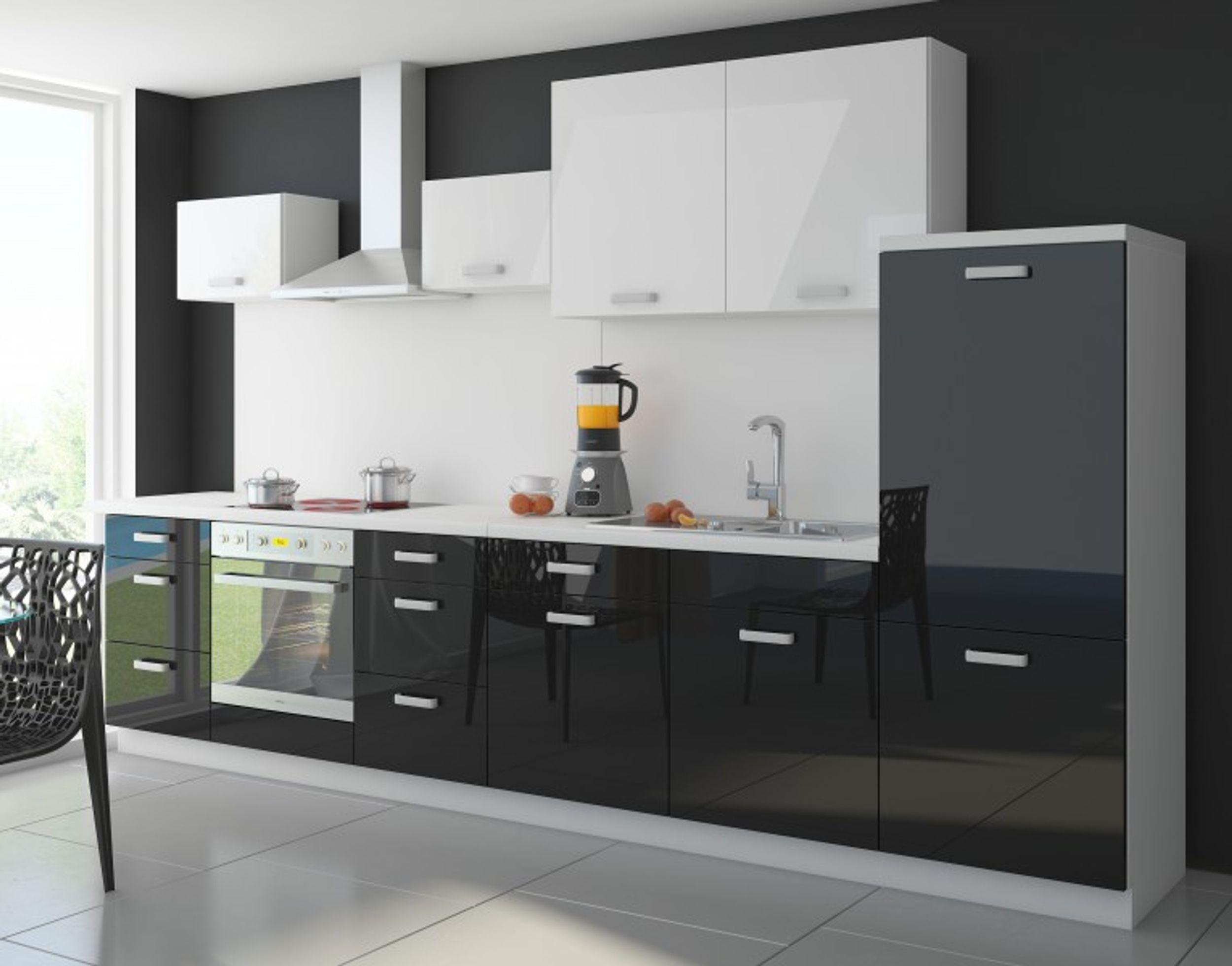 Details zu Küche Color 340cm Küchenzeile Küchenblock Einbauküche in  Hochglanz Schwarz/Weiss