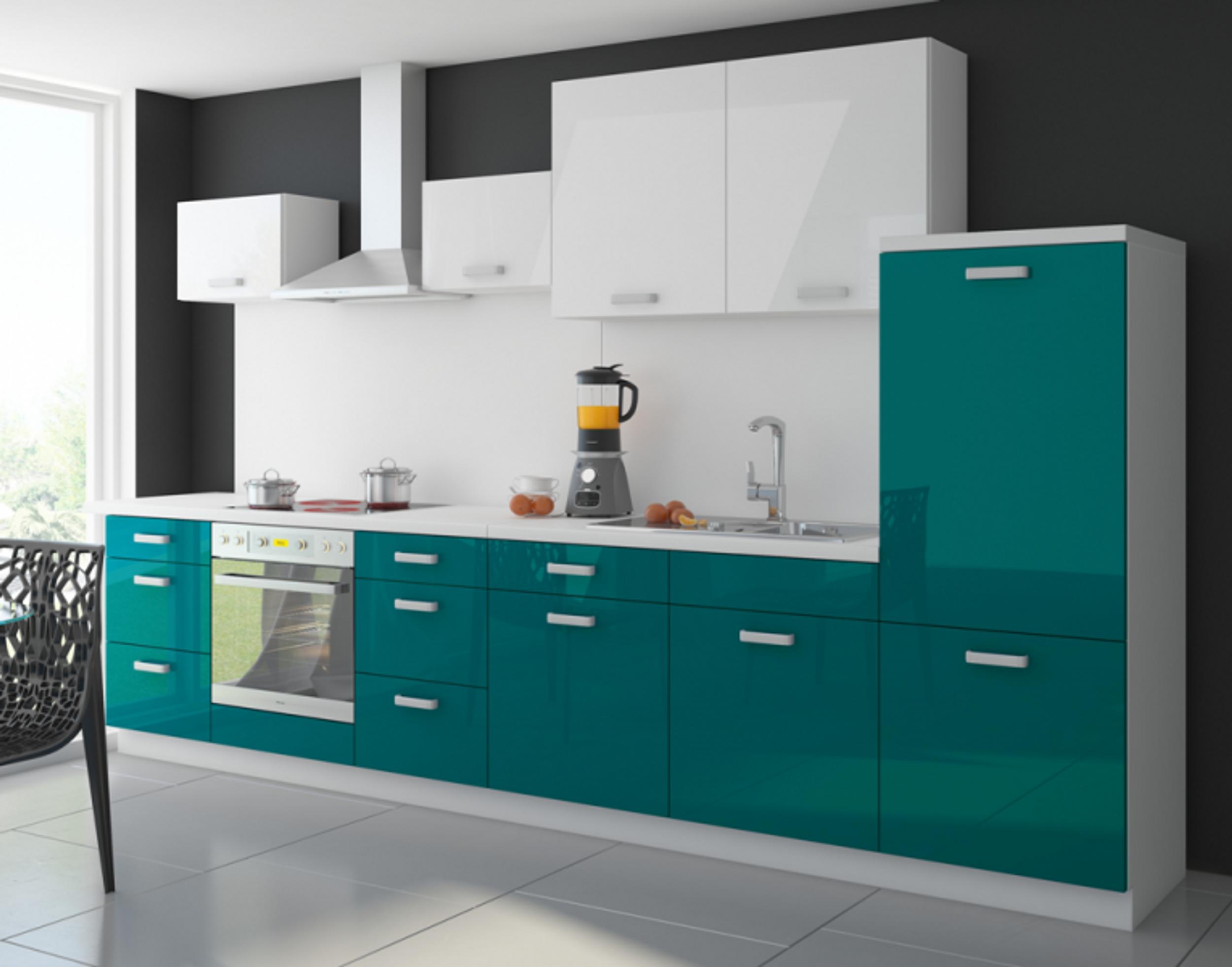 Billige einbauküchen mit e geräten  Küche Color 340 cm Küchenzeile Küchenblock Einbauküche in Hochglanz ...