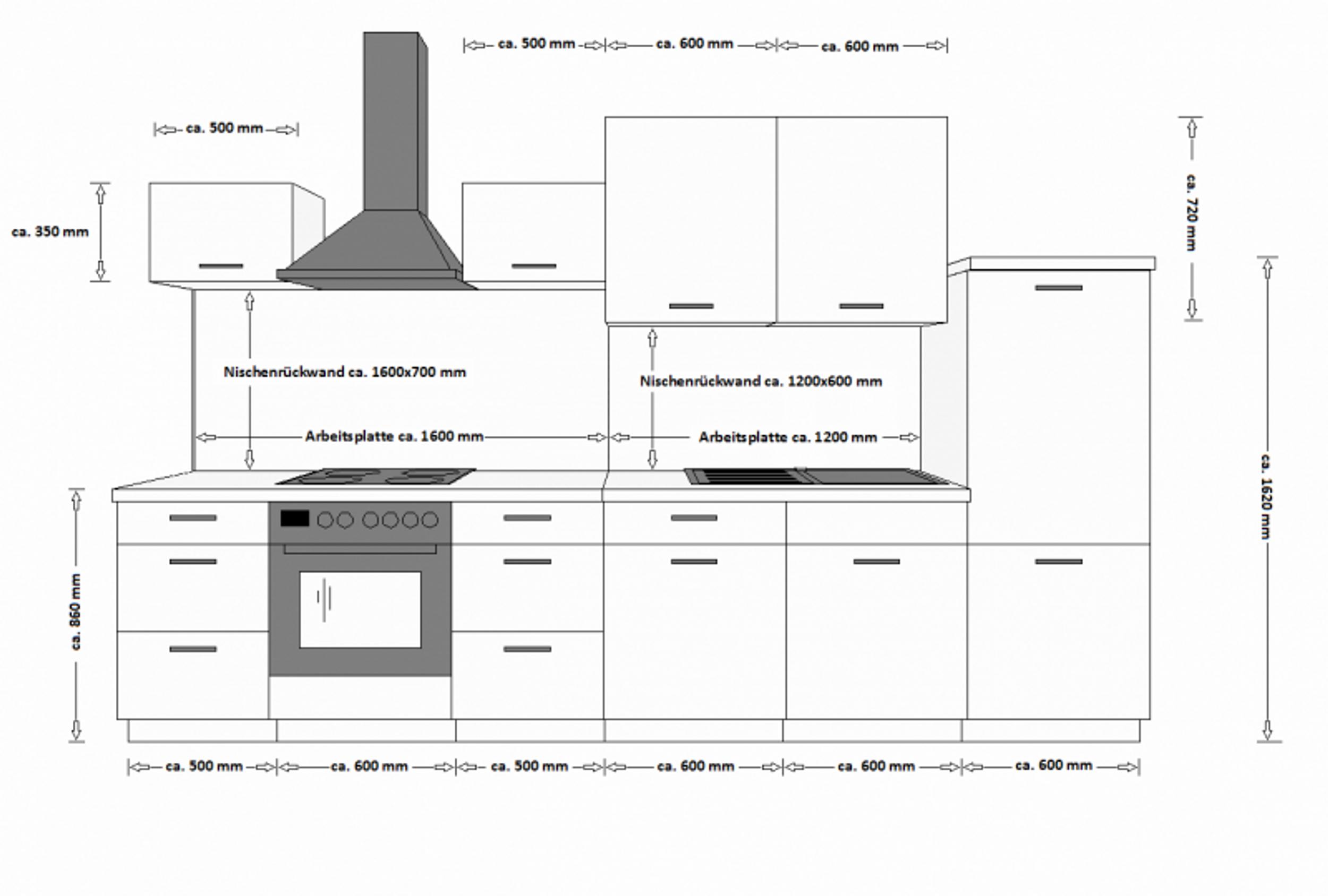 Top Küche Color 340 cm Küchenzeile Küchenblock Einbauküche in EV97