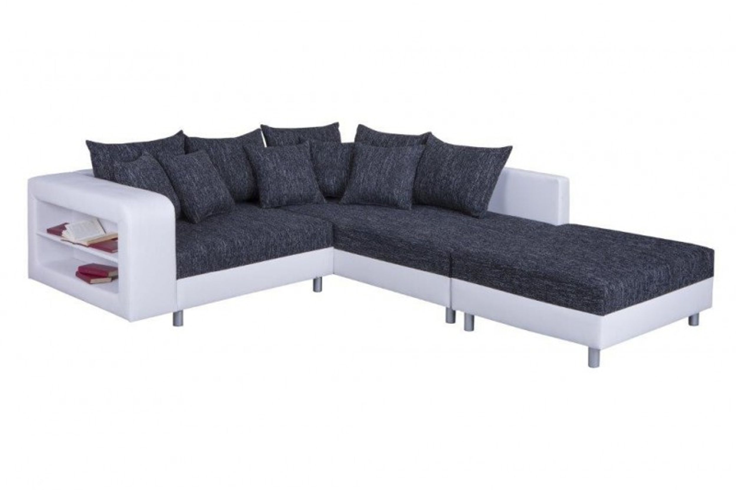 modernes sofa couch ecksofa eckcouch in schwarz weiss mit hocker dresden r polsterm bel sofa. Black Bedroom Furniture Sets. Home Design Ideas