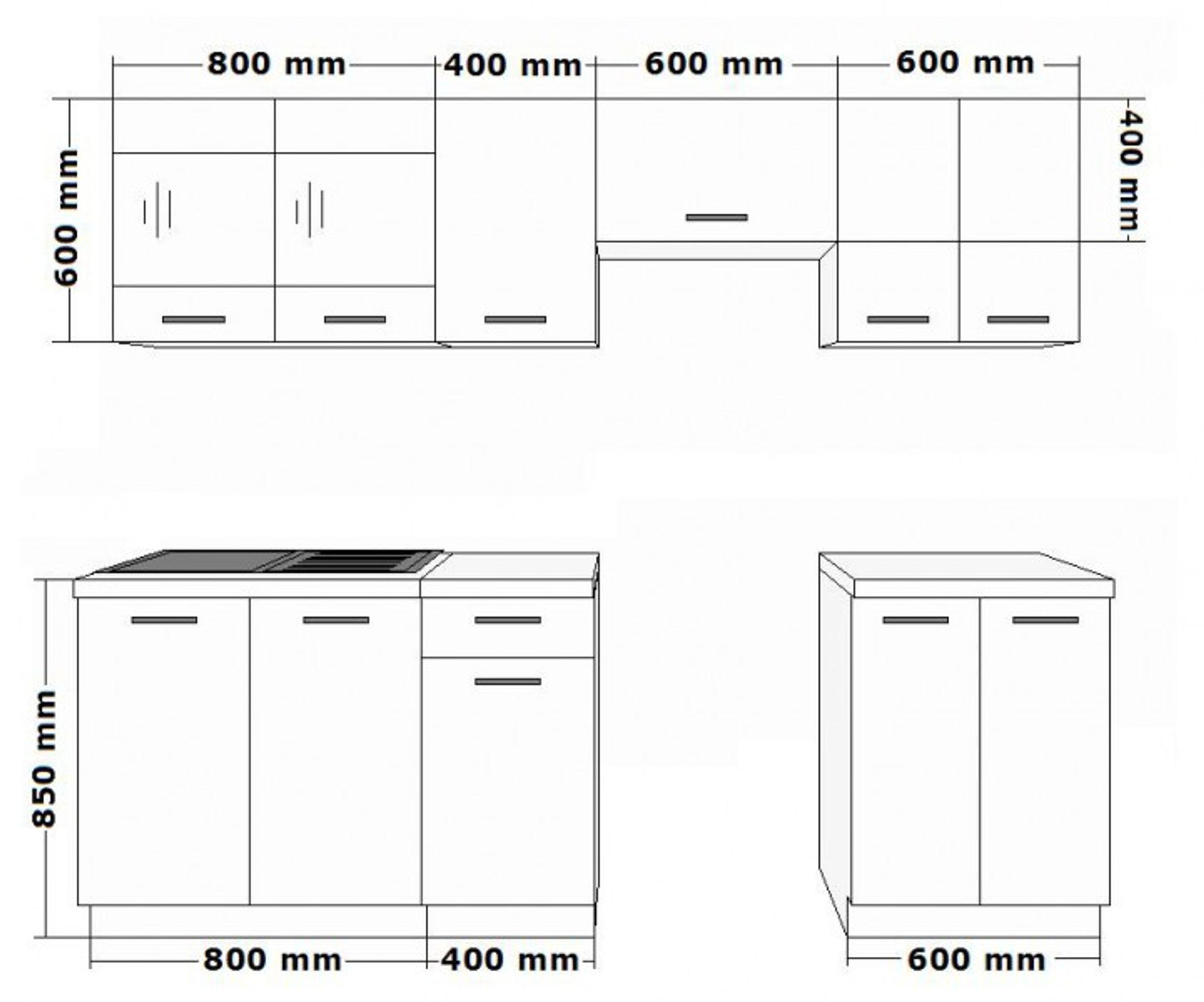 Bekannt Küche Omega 240 cm Küchenzeile Küchenblock variabel stellbar in RN85