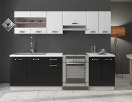 Küche Omega 240 cm Küchenzeile Küchenblock variabel stellbar in Schwarz Weiss – Bild 1