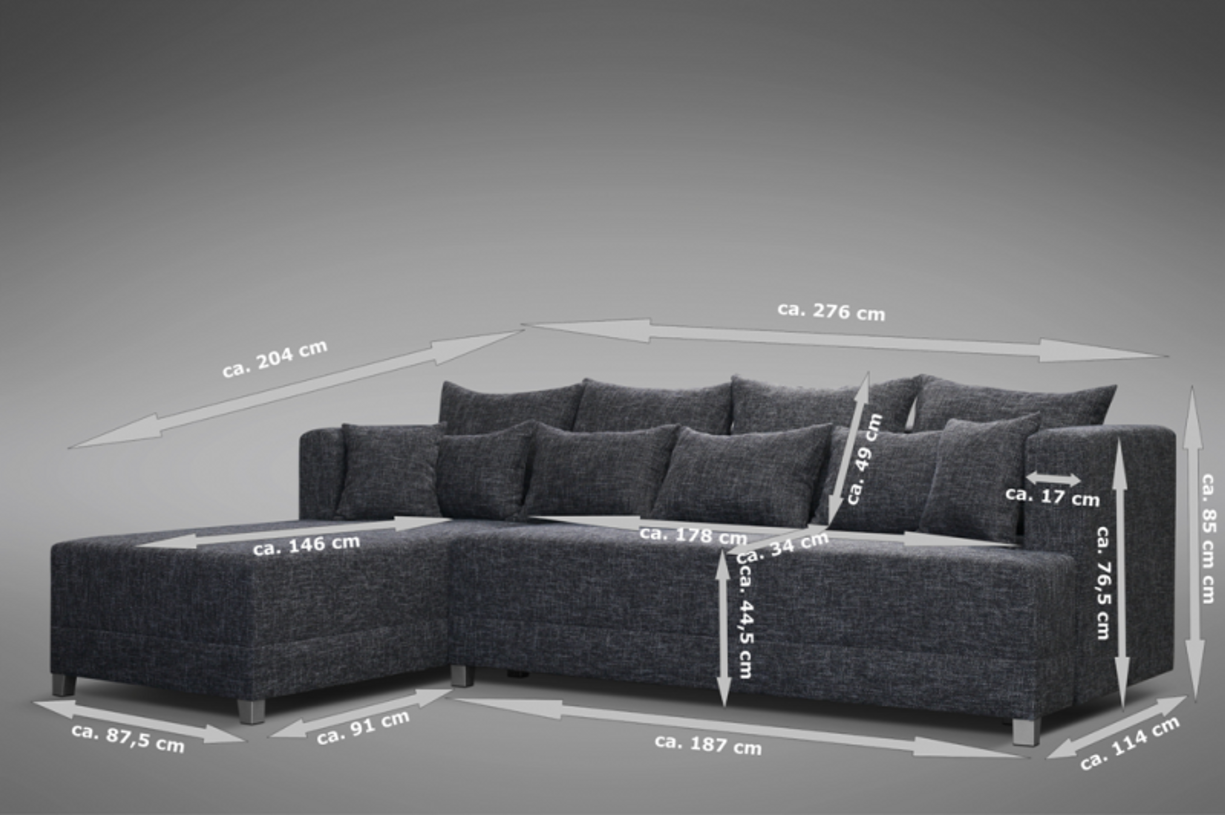 schlafsofa sofa couch ecksofa eckcouch in grau mit schlaffunktion wien 2 l polsterm bel sofa. Black Bedroom Furniture Sets. Home Design Ideas