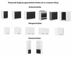"""Küchen Hängeschrank 80 cm für das Modell """"Omega 240 Schwarz + Weiss"""" – Bild 4"""