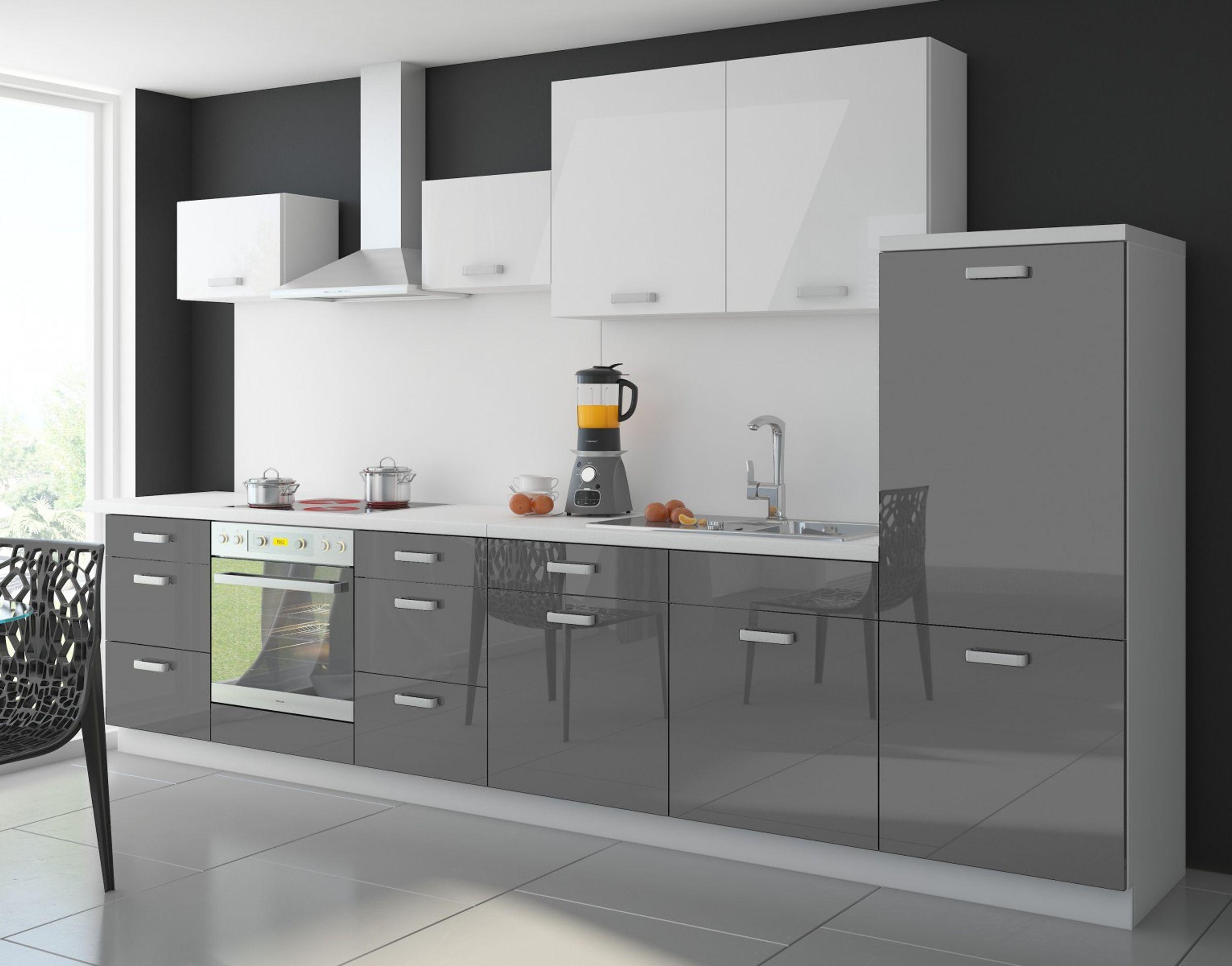 Küche Color 340 cm Küchenzeile Küchenblock Einbauküche in Hochglanz ...