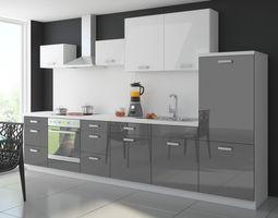 Küche Color 340 cm Küchenzeile Küchenblock Einbauküche in Hochglanz Grau / Weiss – Bild 1