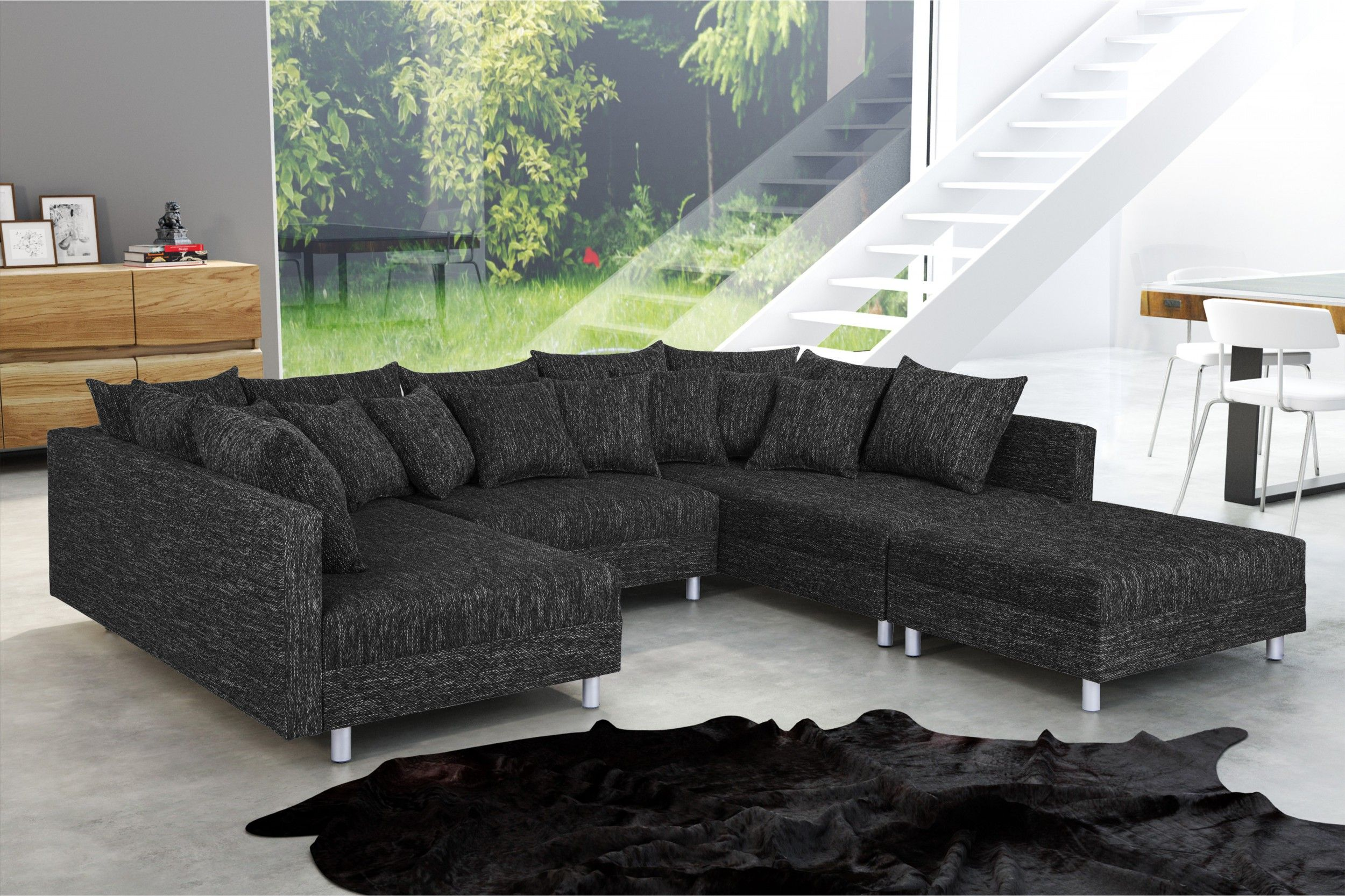 wohnlandschaft sofa couch ecksofa eckcouch in gewebestoff schwarz minsk xxl polsterm bel sofa. Black Bedroom Furniture Sets. Home Design Ideas