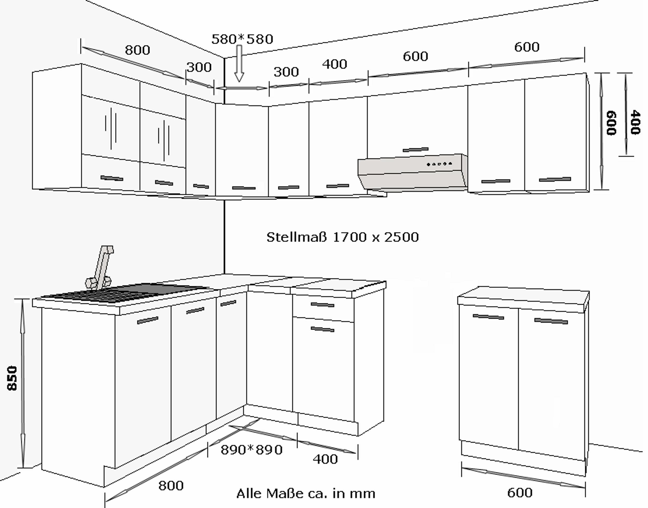 eckk che k che dave 170x250 cm k chenzeile k chenblock winkelk che sonoma eiche k chen. Black Bedroom Furniture Sets. Home Design Ideas