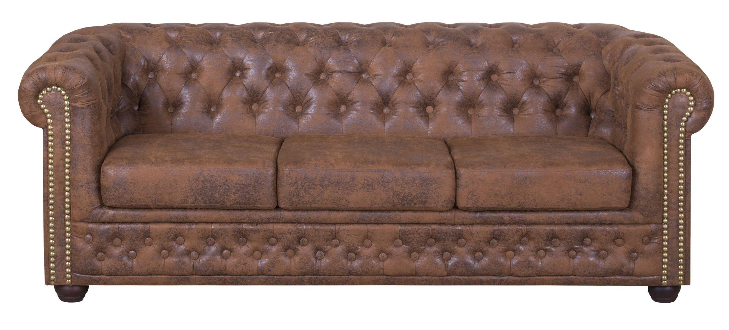 Edles Chesterfield Sofa 3 Sitzer In Mikrofaser Vintage Braun Couch