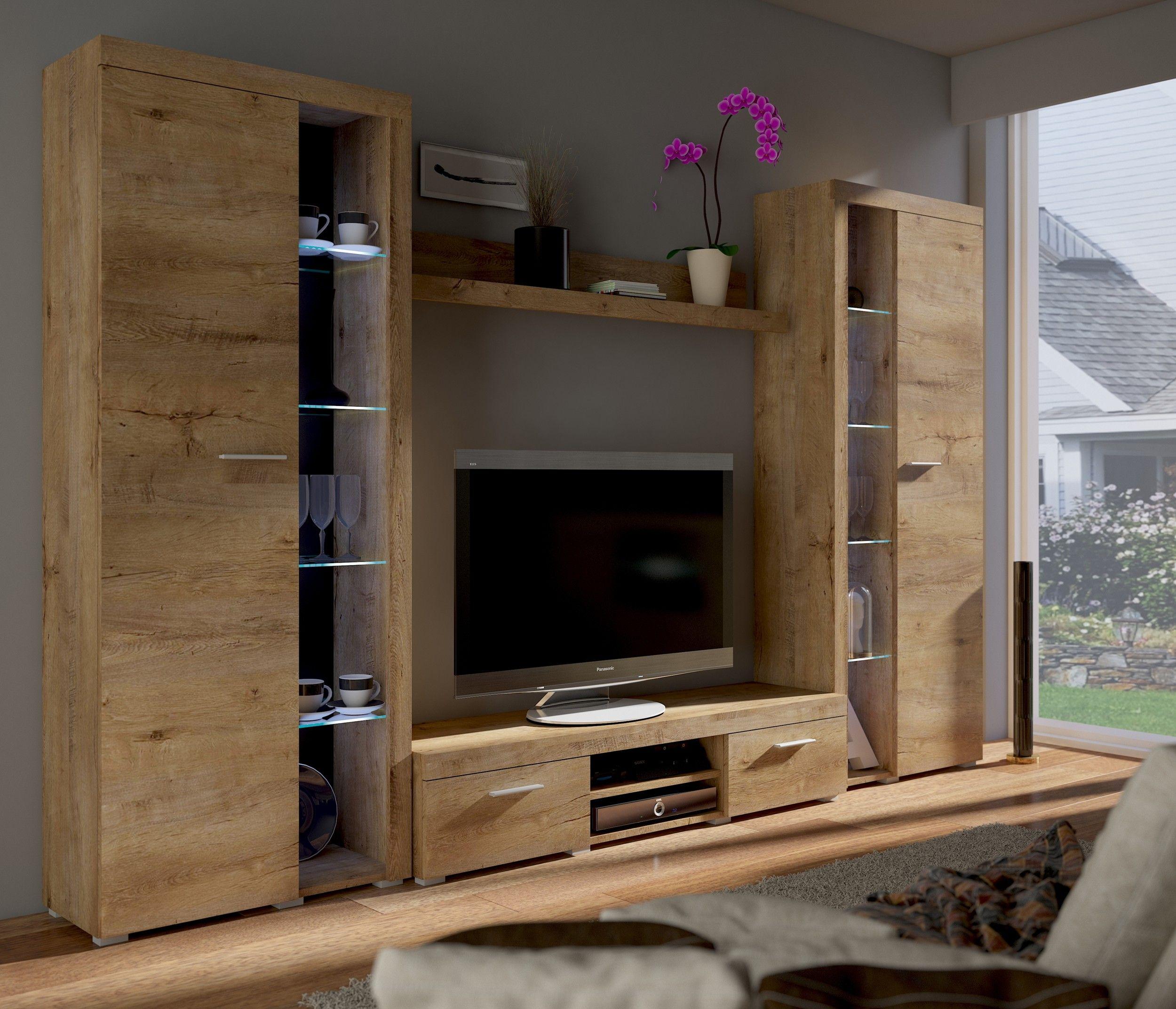 Top wohnwand rumba xl anbauwand wohnkombi wohnzimmer eiche for Wohnwand hochwertig