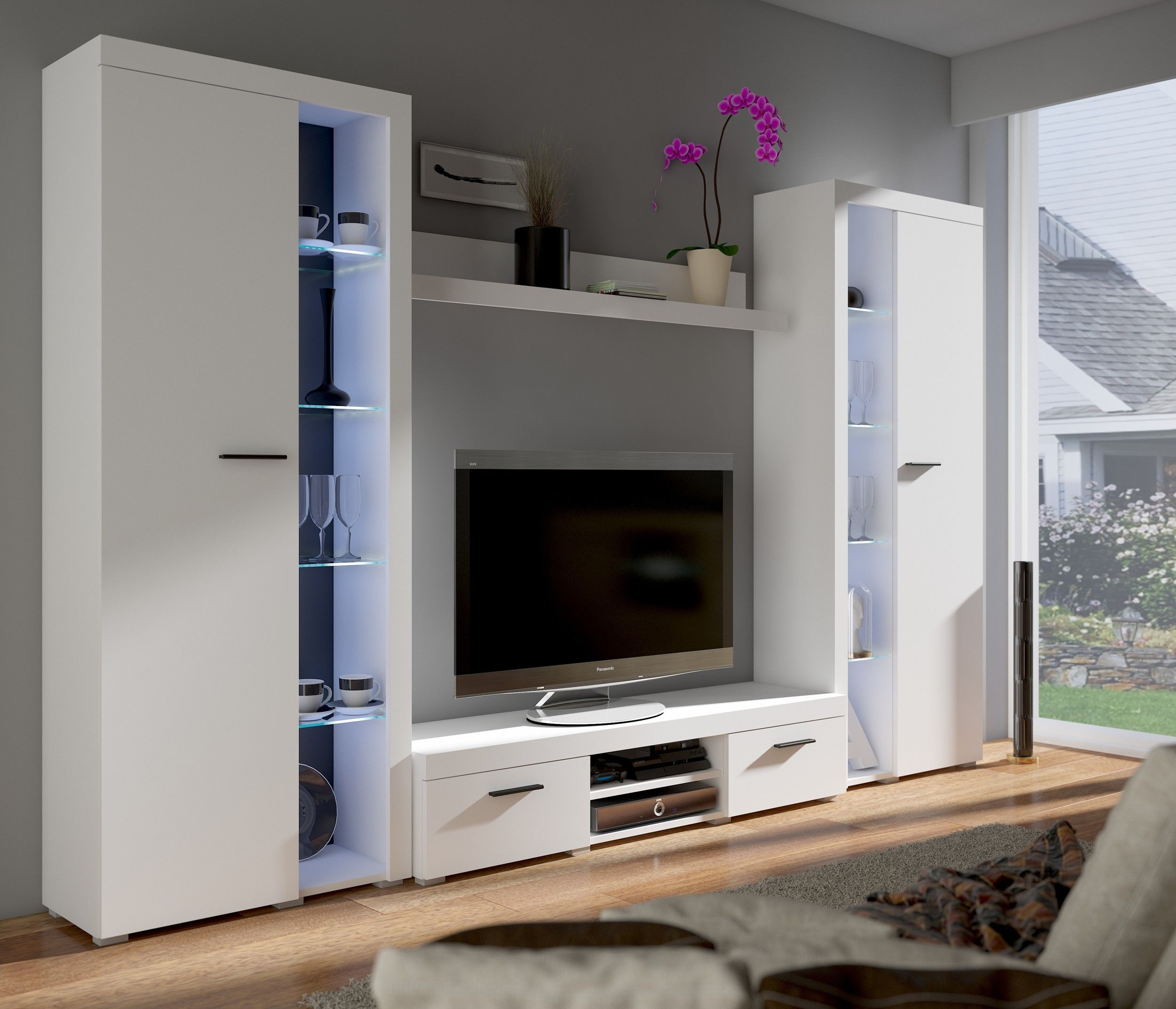 top wohnwand rumba xl anbauwand wohnkombi wohnzimmer weiss matt wohnw nde. Black Bedroom Furniture Sets. Home Design Ideas