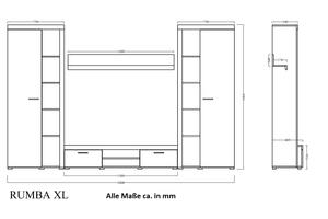 TOP Wohnwand Rumba XL Anbauwand Wohnkombi Wohnzimmer Weiss matt – Bild 2