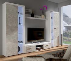 TOP Wohnwand Rumba XL Anbauwand Wohnkombi Wohnzimmer Beton Optik + Weiss matt – Bild 1