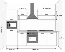 Küche ROUTE 270 Küchenzeile Küchenblock Einbauküche Singleküche Weiss Beton – Bild 2