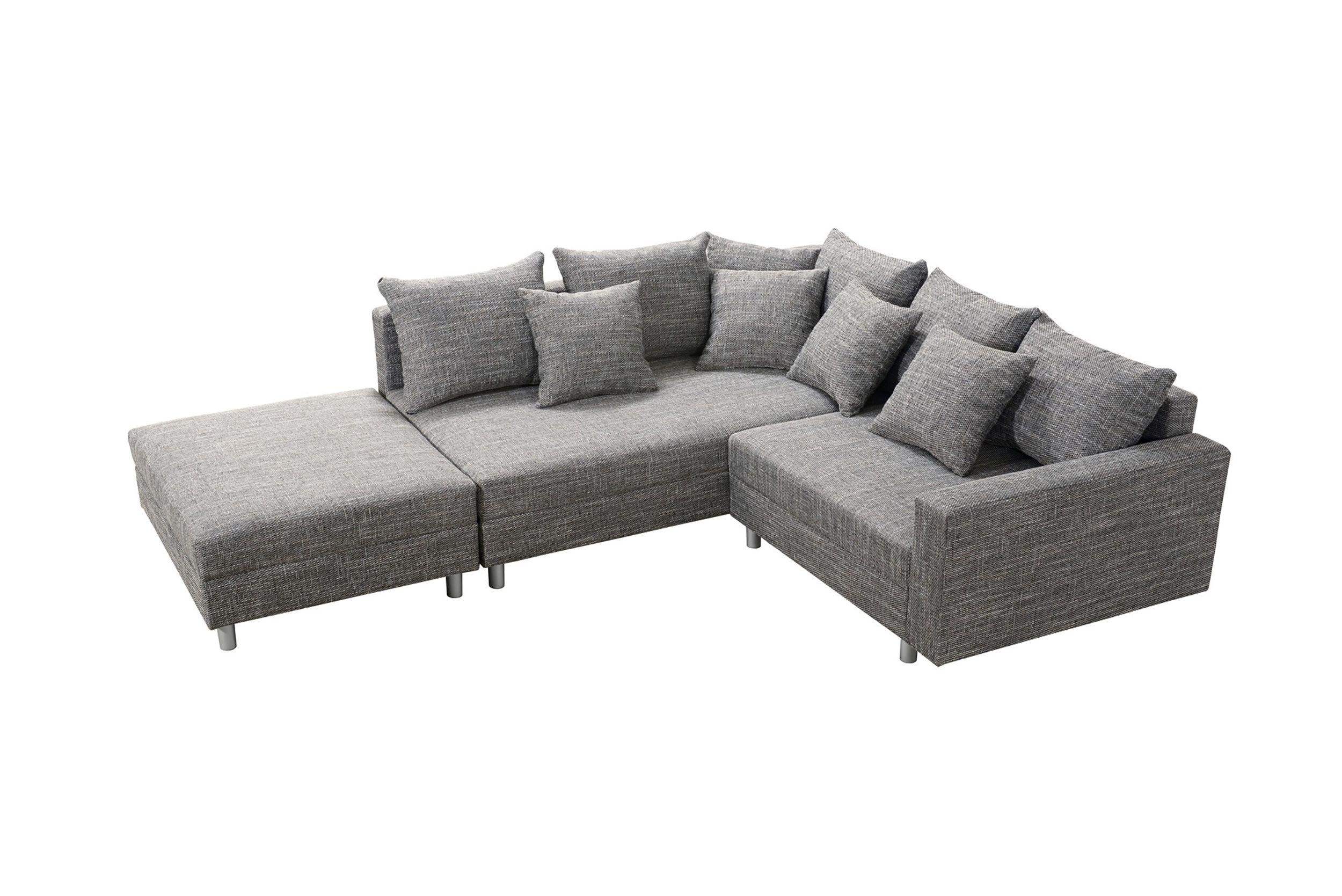 modernes sofa couch ecksofa eckcouch in gewebestoff hellgrau mit hocker minsk l polsterm bel sofa