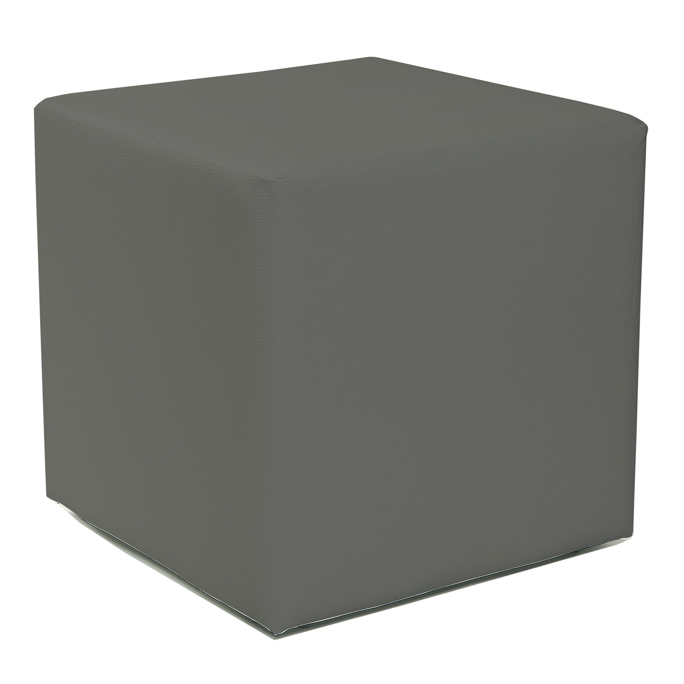 Design Sitzwürfel Kubus I Hocker Kunstleder modern 45x45x45 cm in Grau