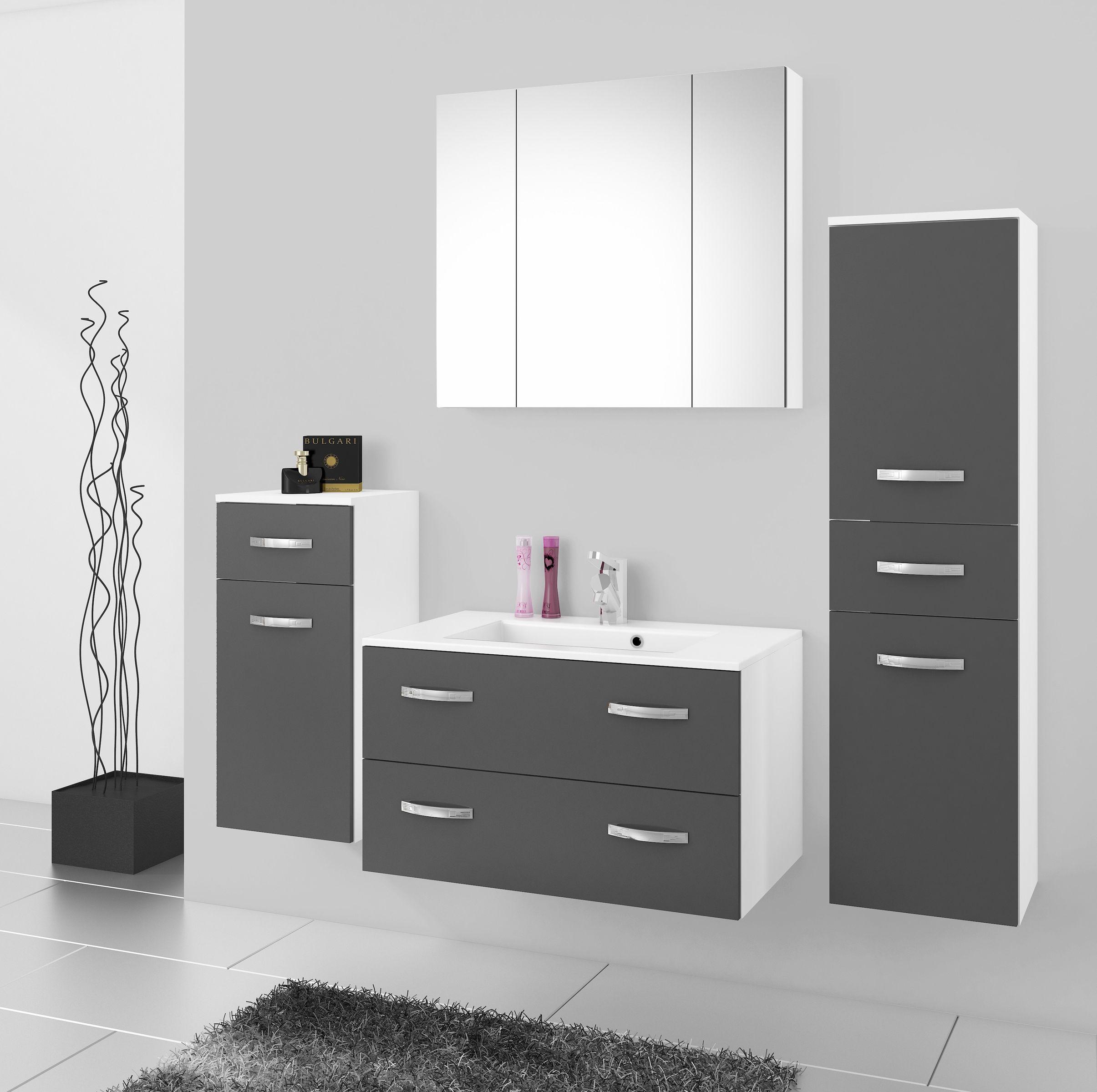 Sehr Badmöbel Badezimmer Regina 5tlg Set in Grau matt + Weiss matt 80 AB15