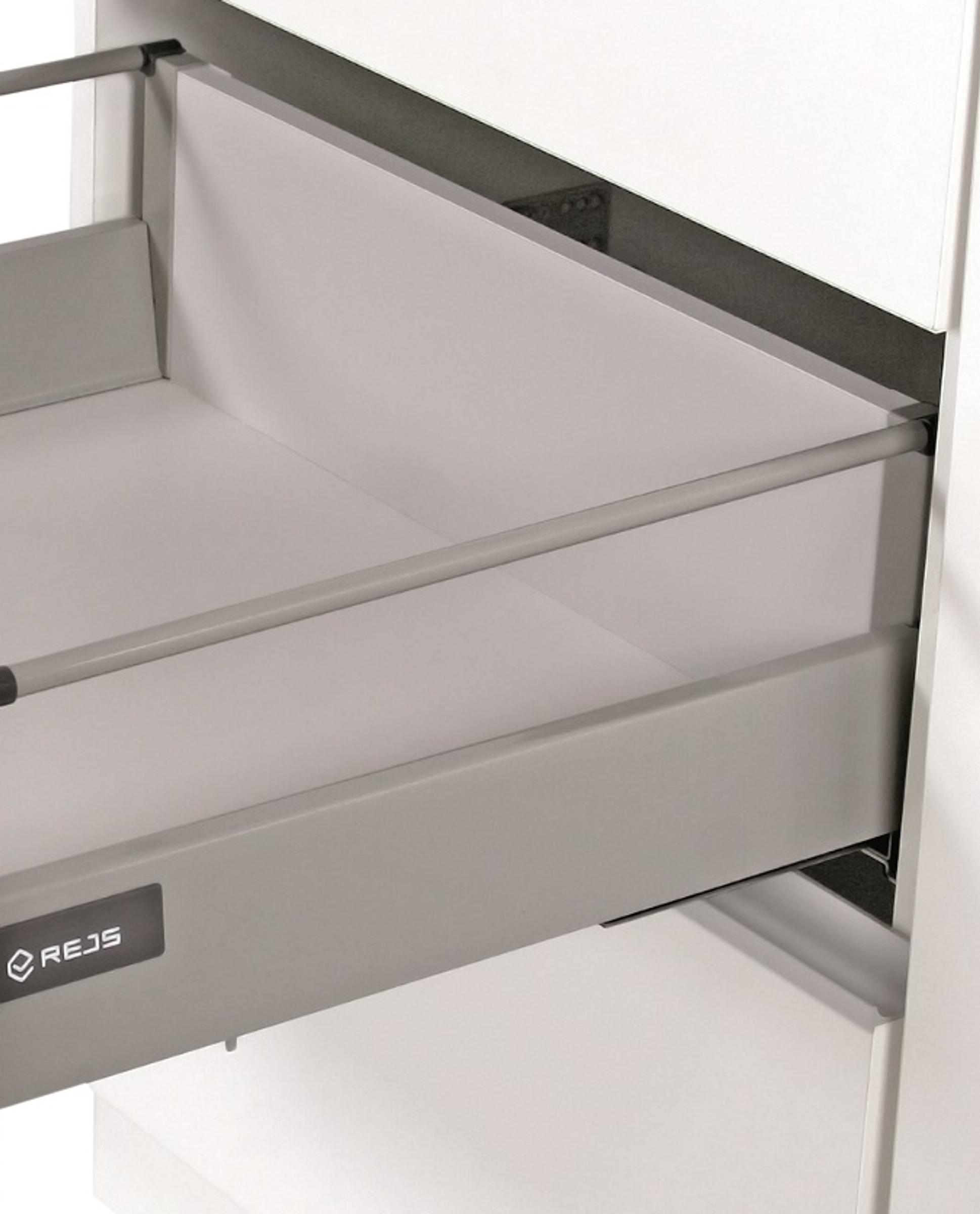[Paket] Küchen Unterschrank 60 cm Bianca Weiss Hochglanz + Grau Vollauszug  Soft-Close