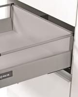 Küchen Unterschrank 60 cm Bianca Weiss Hochglanz + Grau Vollauszug Soft-Close – Bild 2