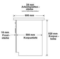 Küchen Unterschrank 80 cm Bianca Weiss Hochglanz + Grau Vollauszug Soft-Close – Bild 3