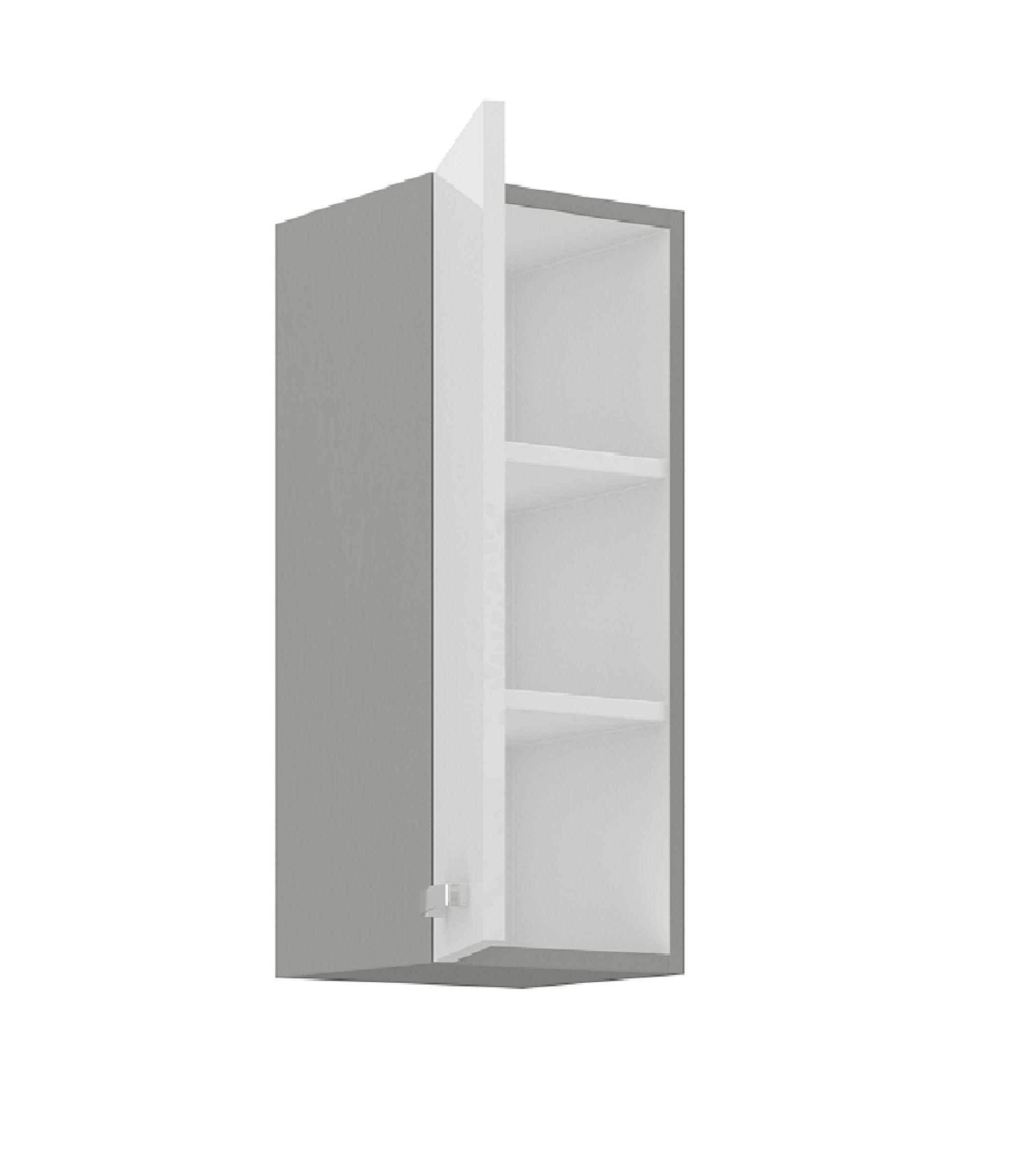 Küchen Hängeschrank 30 cm Bianca Weiss Hochglanz + Grau Küchenzeile Küchenblock – Bild 2