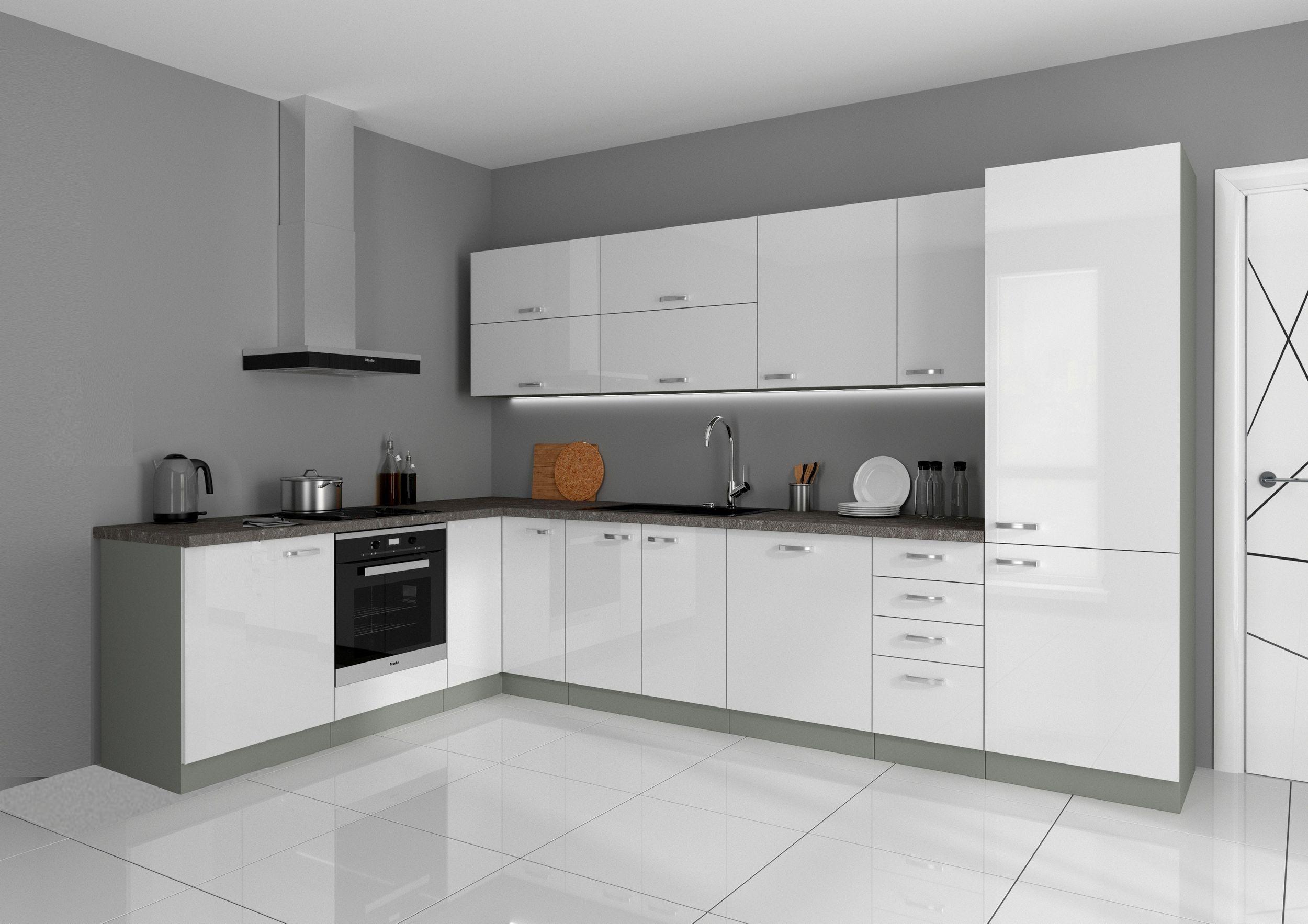 Küche Vario Ecke I 210x330 cm Küchenzeile in Hochglanz weiß Küchenblock
