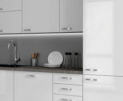 Küche Vario Ecke I 210x330 cm Küchenzeile in Hochglanz weiß Küchenblock  – Bild 2