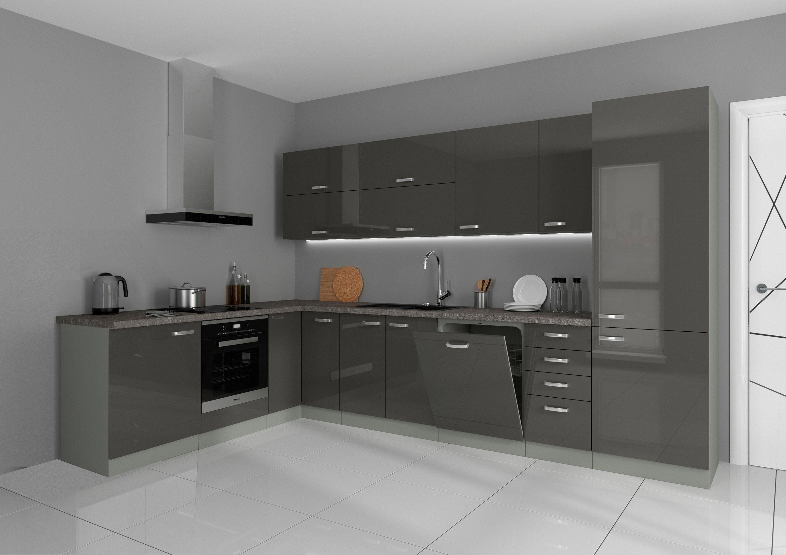 Küche Vario Ecke Ii 210x330 Cm Küchenzeile In Hochglanz Grau Küchenblock