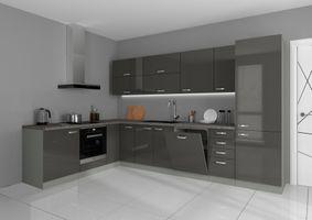 Küche Vario Ecke II 210x330 cm Küchenzeile in Hochglanz Grau Küchenblock  – Bild 1