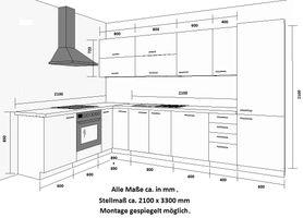 Küche Vario Ecke II 210x330 cm Küchenzeile in Hochglanz Grau Küchenblock  – Bild 3