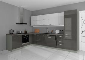 Küche Vario Ecke IV 210x330 cm Küchenzeile in Hochglanz Grau+Weiss Küchenblock  – Bild 1
