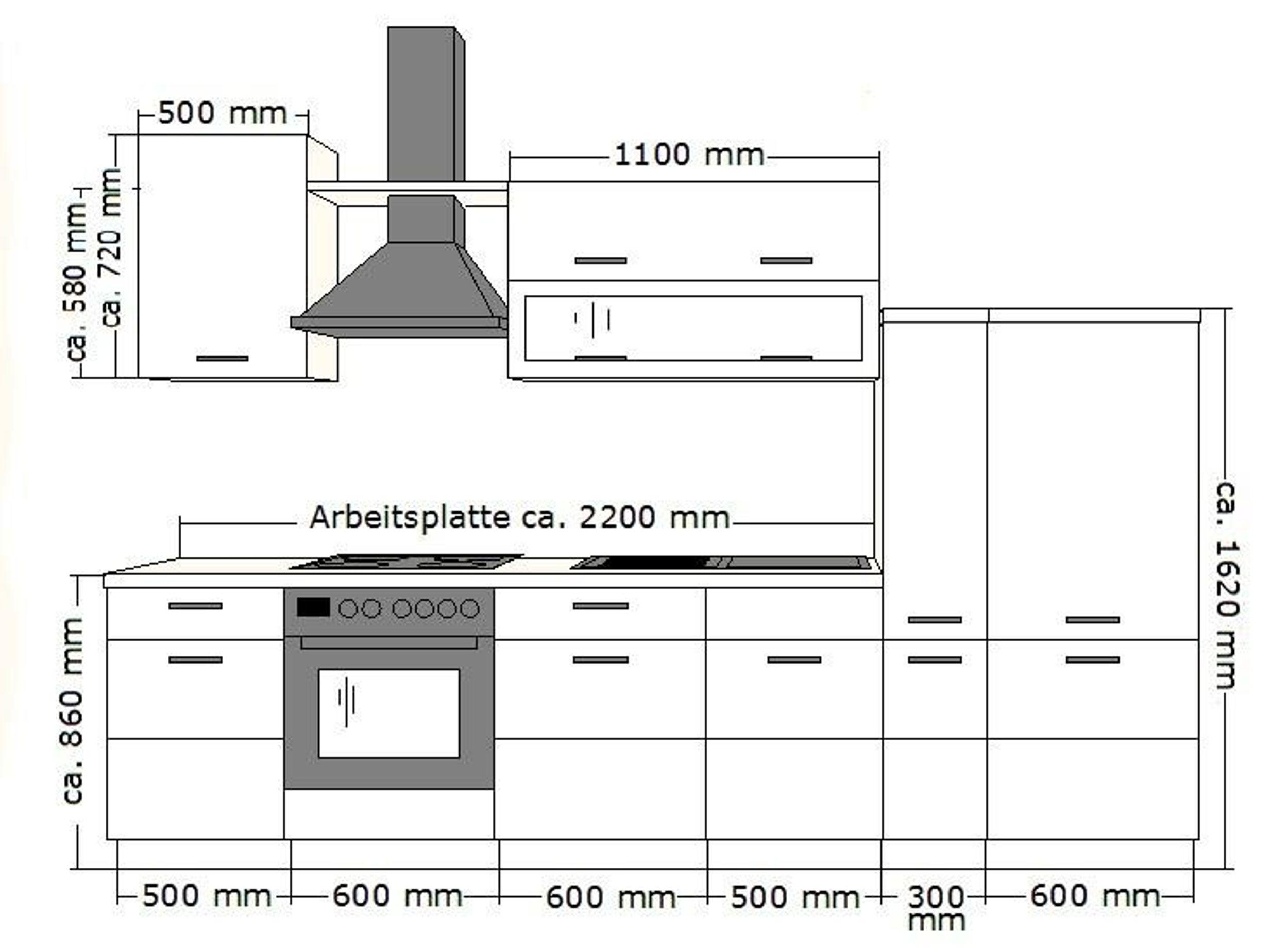 Kuche Fabienne 310 Cm Kuchenzeile In Schwarz Weiss Kuchenblock