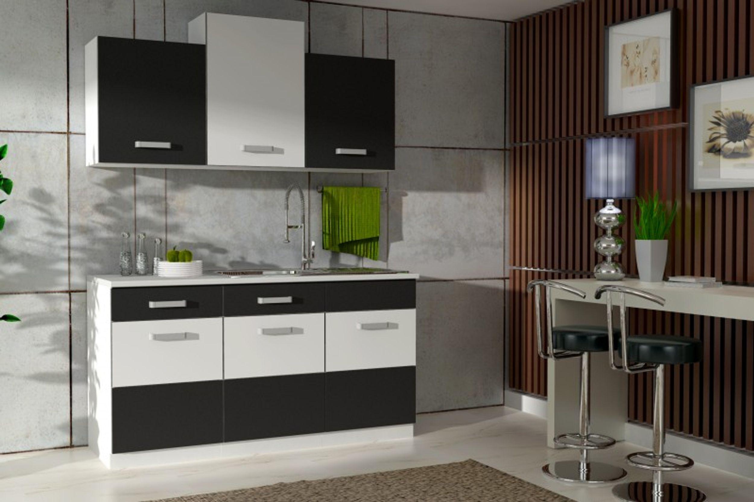 Küche Fabienne 150 cm Küchenzeile in schwarz / weiß - Küchenblock ...