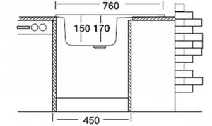 Edelstahlspüle 76cm x 43,5cm mit Ablage Spüle, Einbauspüle, Waschbecken, Küchenspüle – Bild 4