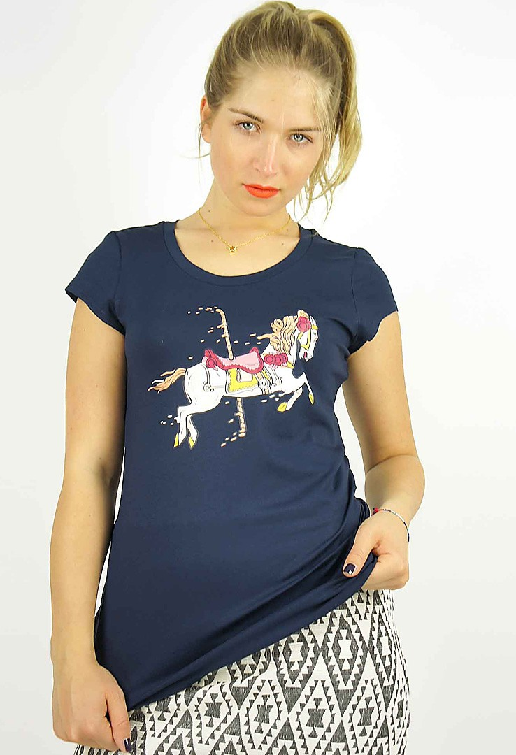 tailliertes Girlie - T - Shirt mit Print -739-38 Ride Free