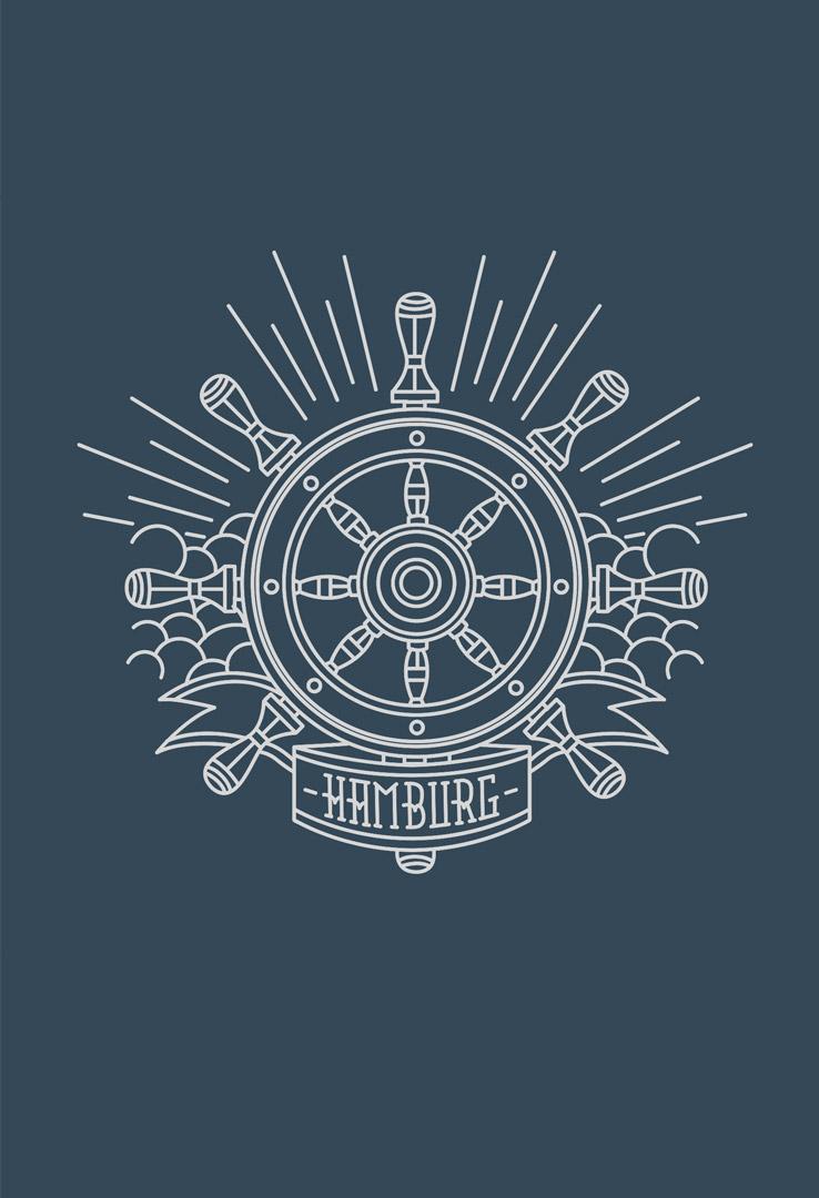 T-Shirt Hamburg Steuerrad – Bild 1