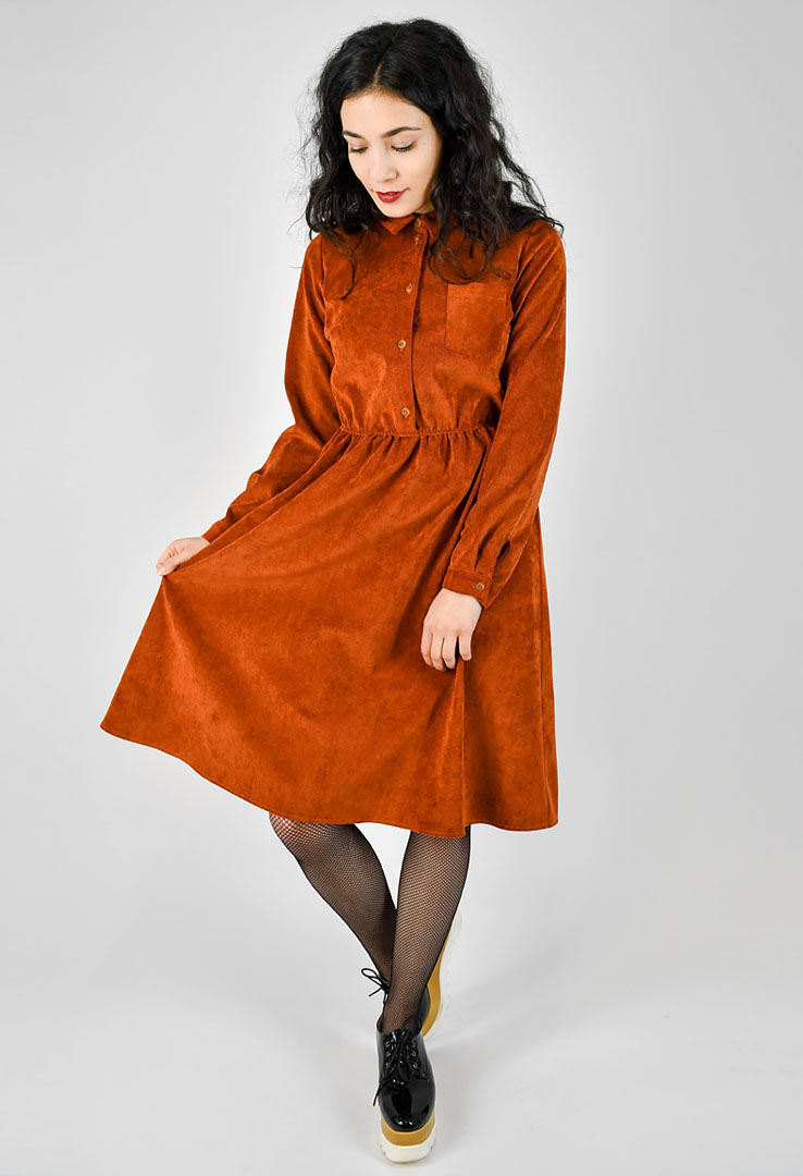 Cordkleid in orange