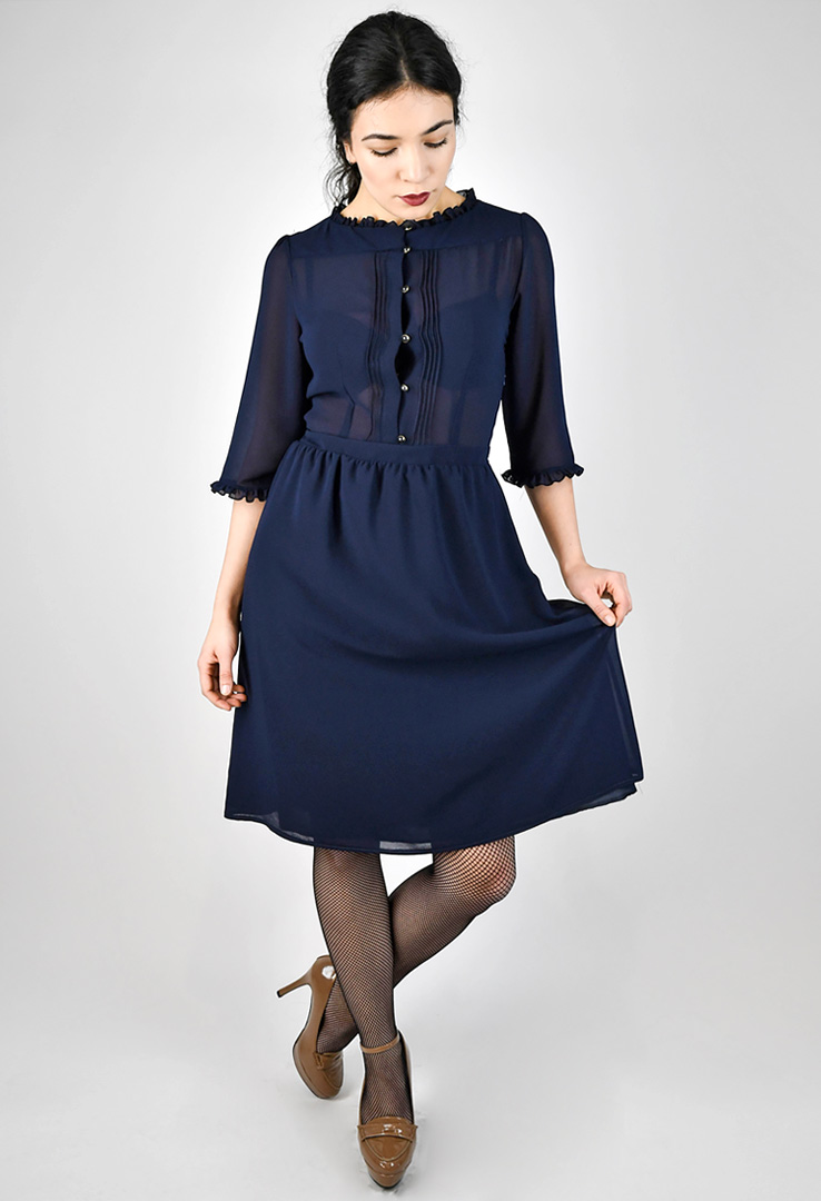 Chiffonkleid in navy