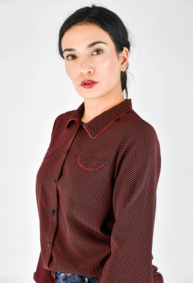 Bluse gepunktet Wine Red – Bild 2