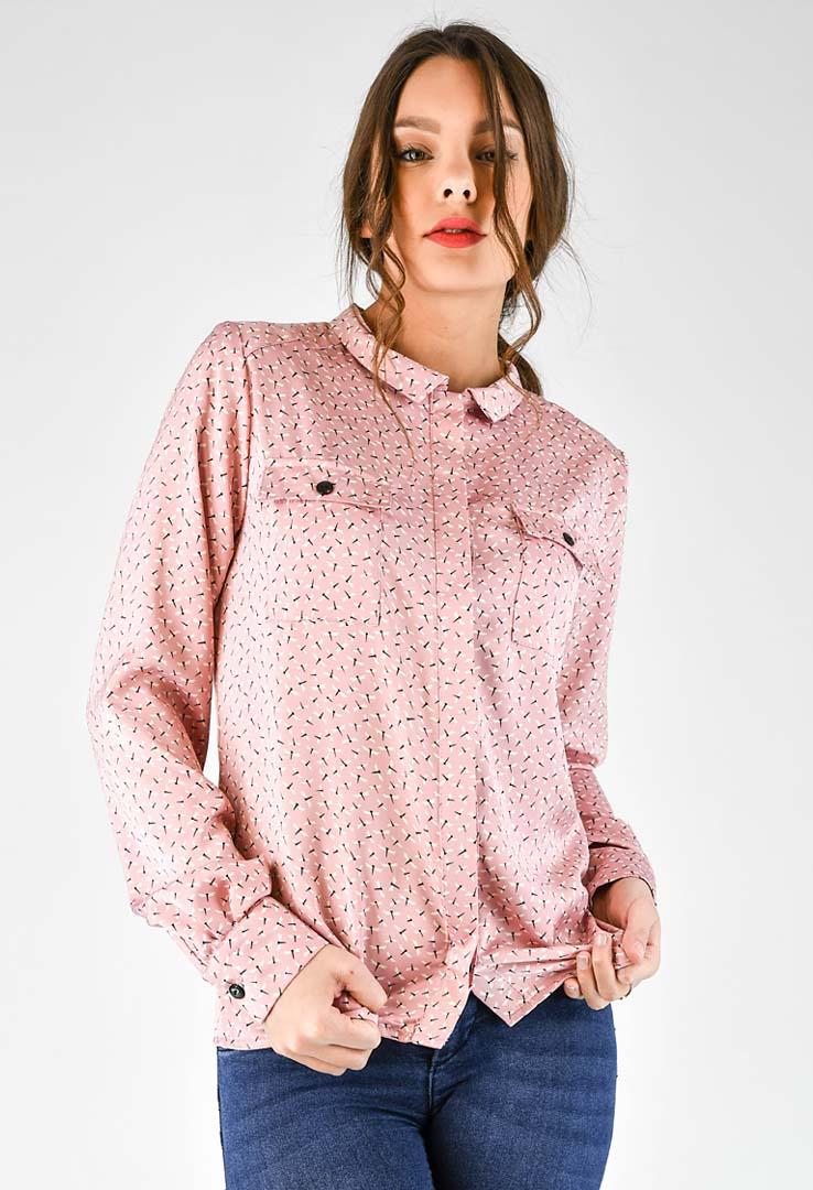 rosa Bluse mit Libellenprint – Bild 4