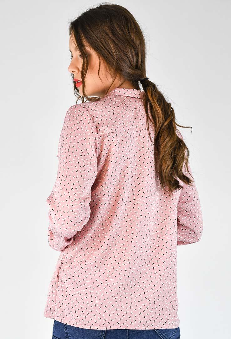 rosa Bluse mit Libellenprint – Bild 3
