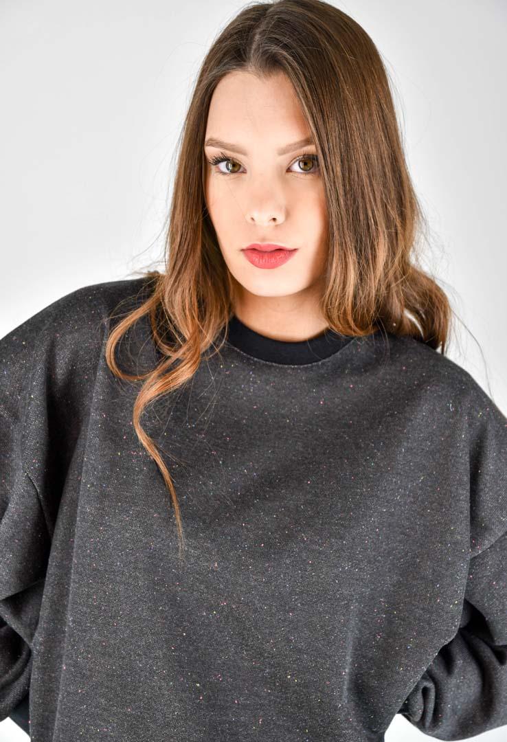sportlicher Sweater Oversize in Dunkelgrau – Bild 4