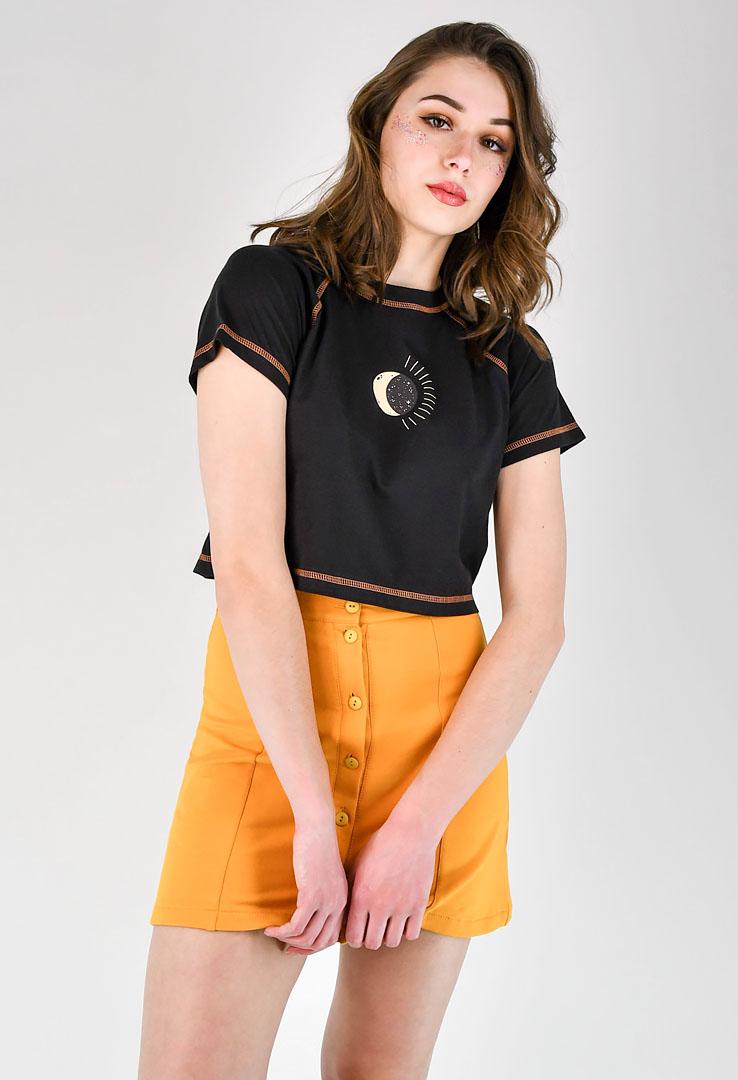 kurzes Shirttop in schwarz