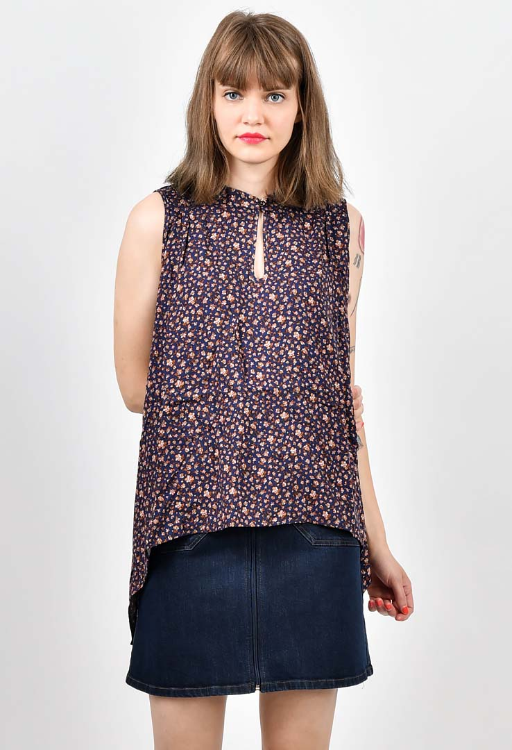 Top Navy Blue Floral