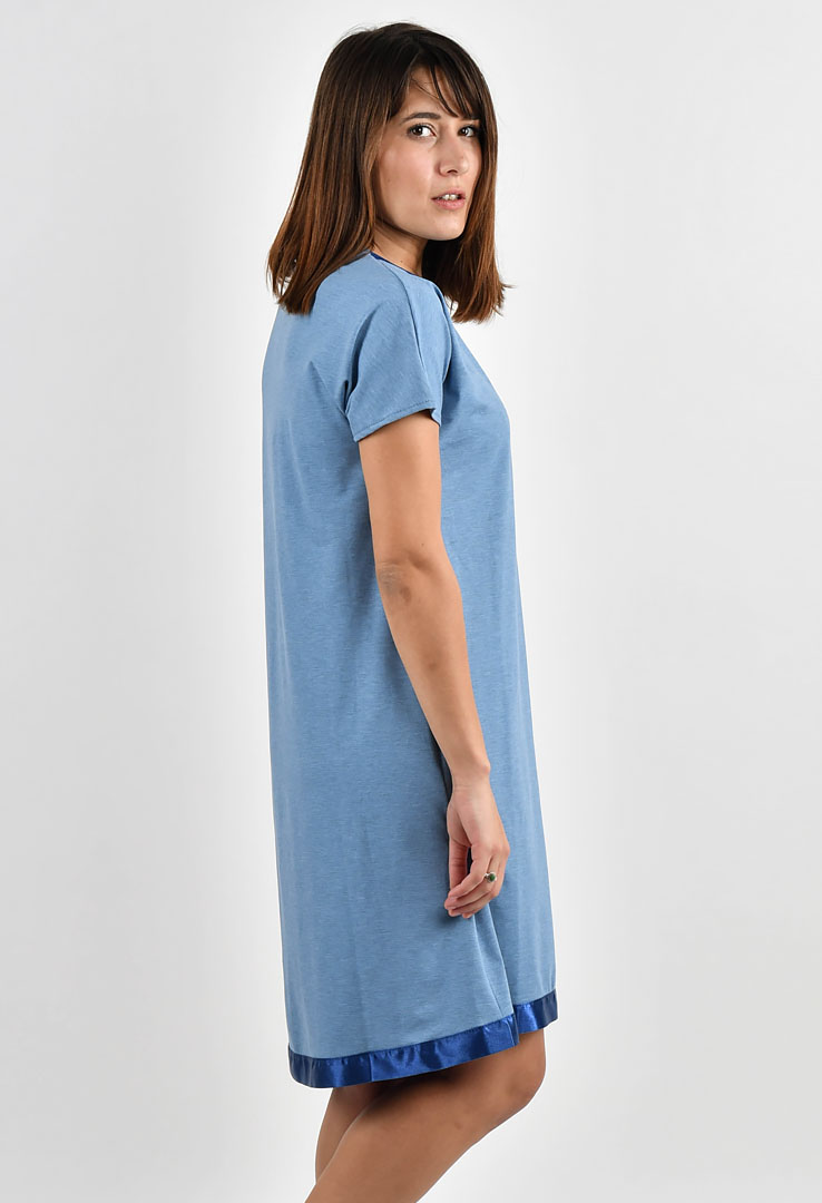 Shirtkleid in blau – Bild 3